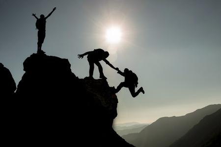 成功した登山チーム 写真素材