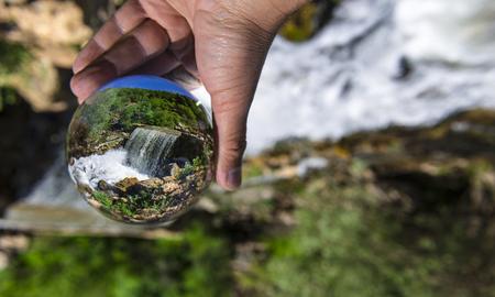 transparent quartz crystal texture and waterfall