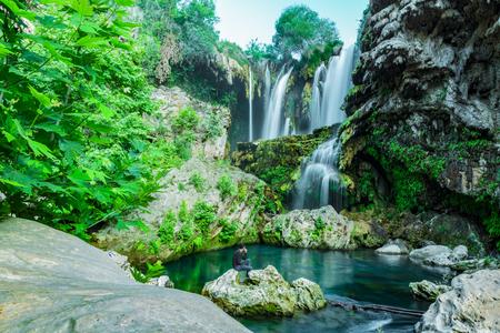 waterfall peaceful environment Stock Photo