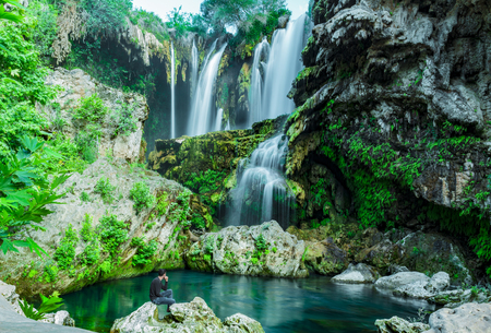 water quality: the waters of the waterfall and relaxing effect Stock Photo