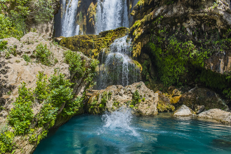 turquoise waterfall in nature