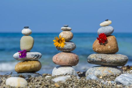 zen stones on the beach Stock Photo