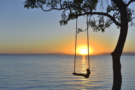 swing and the beauty of the sunrise