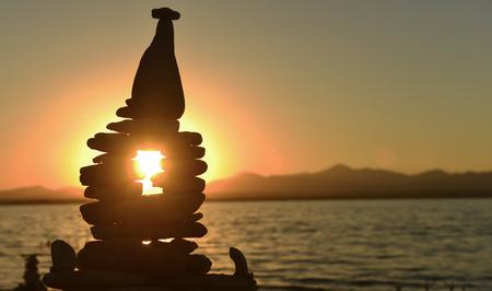 silhouette concept zen stones & Sunrise