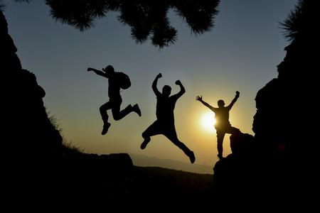 light hearted: to jump between cliffs, jump, prance