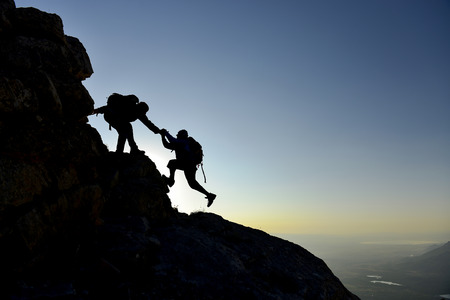 climbers on rocks Stock Photo