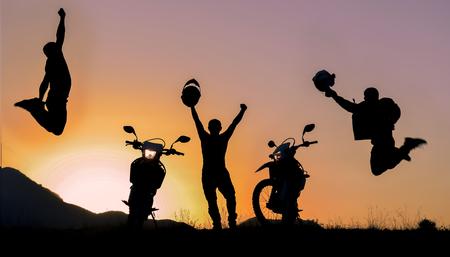 adventurous: adventurous motorcyclist team