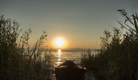 ance: barca da pesca all'alba e canne