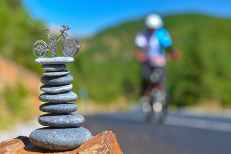 sequential: pleasant bike rides in the mountains Stock Photo