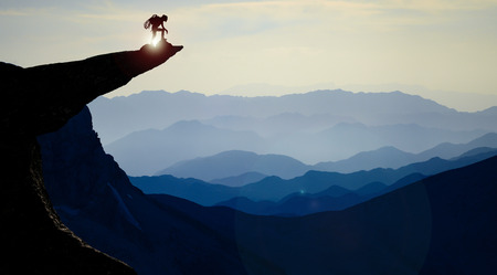 Brave, fearless climber and unconventional success Stock Photo