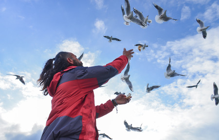 man throwing bread to seagulls