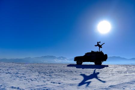 crazy and adventurous man silhouette Stock Photo