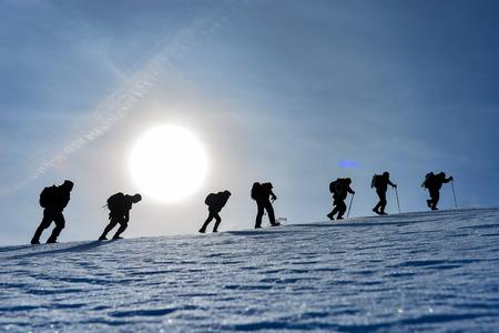 Walking challenging mountaineering Stock Photo