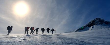 winter hiking group Stock Photo