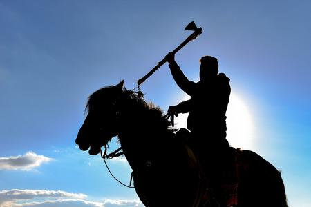 quartered: model horse warrior quartered Stock Photo