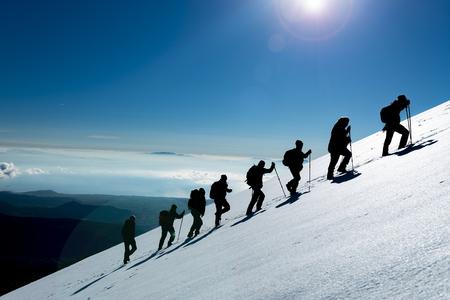 厳しい登山とハイキング 写真素材