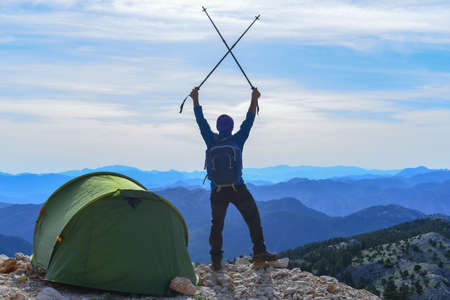 tent camping and mountain climbing achievement