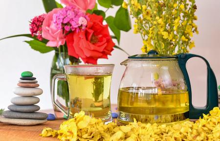 King tea candle&Calba weed tea & cattle tail herb tea Stock Photo