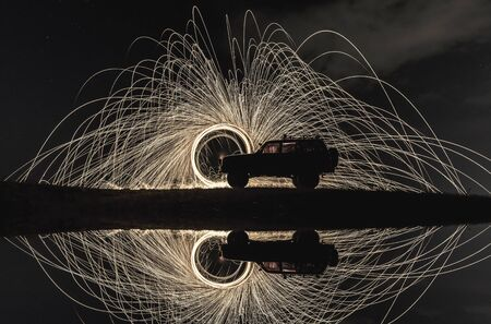 steel wool: example of long exposure photography Stock Photo