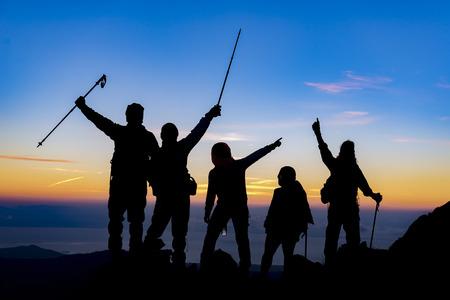 登山家、遠征チームの成功 写真素材