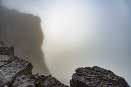 peak performance in the misty mountains Stock Photo