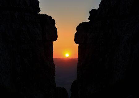 Fascinating and sunrising on high rocks Stock Photo