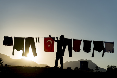 Hanging washed clothes