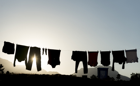 Washed clothes and clothes hanged
