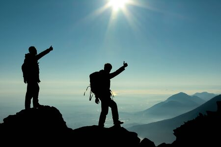 successful duo & ambitious climbers Stock Photo - 85359469