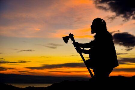 adventurous silhouette of people