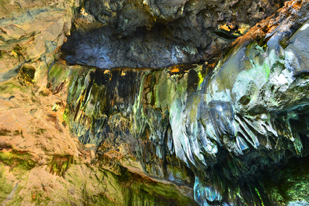 big stalactites and stalagmites in the cave Stock Photo