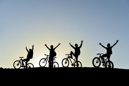 fietser groep silhouet Stockfoto