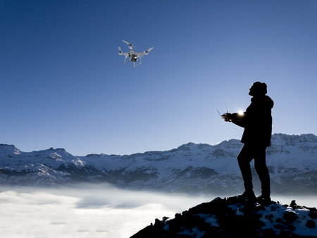 drone & use an unmanned aerial vehicle Stock Photo