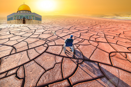 cracked lands and disability in the middle east Stock Photo