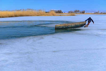 fishing boat, struggle and challenging winter conditions