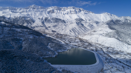 dam and mountain views where the mountains snow waters are stored Stock Photo