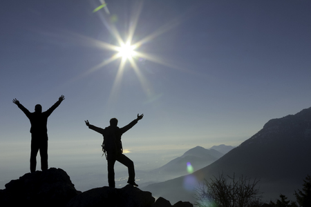 goal success, determination and summit happiness