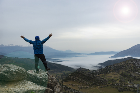 sightseeing in high mountains, reconnaissance and happy human model