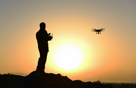 aerial shooting, technology and labor work Stock Photo