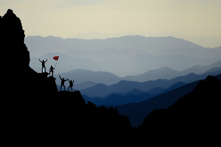 extraordinary mountains, challenging territories and successful team work Stock Photo