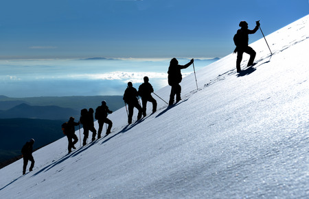 mountaineering activities, strong professional climbers and walking activity Stock Photo