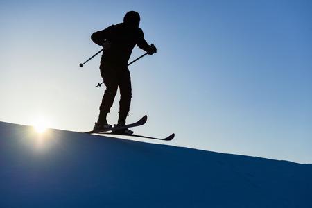 professional skier silhouette Stock Photo