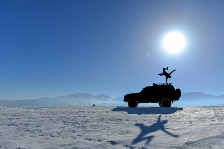 Access to tough mountains with land vehicle and the joy of success