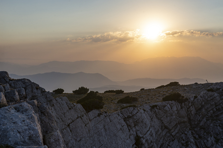 Mountain views of the sunset and the imposing mountain ranges Stock Photo