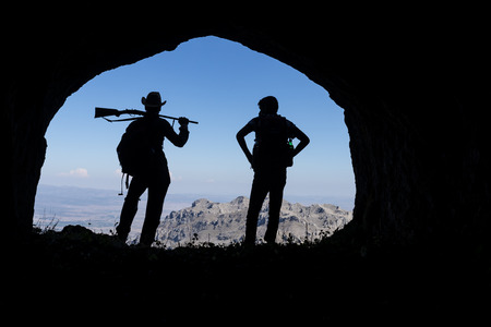 hunting, sightseeing, adventure and adventurous life in the mountains Stock Photo