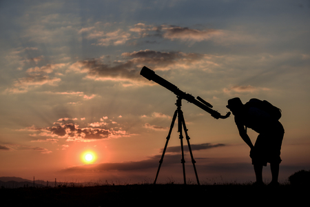 student studying with telescope Stok Fotoğraf