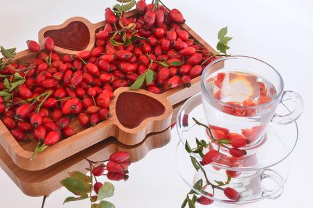 rosehip, marmalade, jam and tea Stock Photo - 109456759