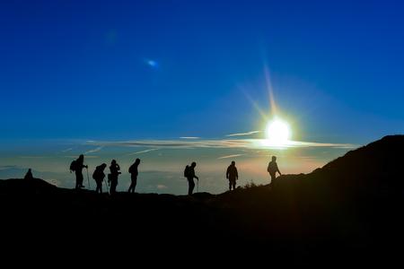 Climbers enjoying climbing mountains activity
