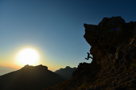 Crazy Climber's Diary, Sunrise Time Sporty Climbing Banque d'images