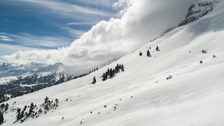 amazing mountain landscapes and winter sun Stok Fotoğraf - 118954808